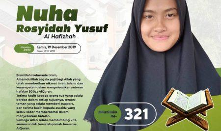Busyro Khatam Tahfizh 30 Juz Ananda Nuha Rasyidah Yusuf – Khatimin ke-321 (Santri Banaat Kelas 9 PQBS)